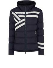 PAUL & SHARK Striped Hooded 700 DOWN Fill Jacket in Navy LARGE