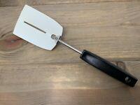 Vtg FOLEY White Nylon Spatula Drain Hole Plastic Slotted Flipper Black Handle