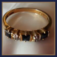 Sapphire & Diamond Accents Ring, Size 7-3/4, EUC, Gold over   .925