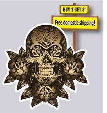 Sugar Skull Day of the Dead Gold Decal Dia De los Muertos Made in America DOD8