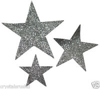 3 Star Silver glitter FABRIC STAR iron-on hotfix patch transfer