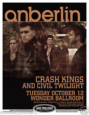 ANBERLIN / CRASH KINGS / CIVIL TWILIGHT 2012 PORTLAND CONCERT TOUR POSTER