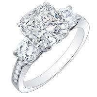 1.72 Ct. Cushion Cut 3-Stone Diamond w/ Accents Engagement Ring F,VS1 GIA 14K