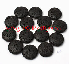 25mm Coin Black Lava Rock Gemstone Beads For DIY Jewelry Making Loose Strand 15""