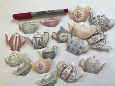 """25x VINTAGE TEAPOT CUTOUTS, PAPER PUNCHES, MANY USES, 2"""" IN SIZE, HAND CUT"""