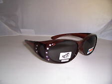 POLARIZED FIT GLASSES OVER RX 60 MM Lens Sunglasses Brown  W/ Rhinestones