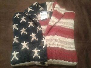 RALPH LAUREN American Flag Sweater -Stars&Stripes, Red/Blue -Women's Size M NWT!
