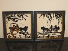 VINTAGE 1952 PAIR OF CUT PAPER SILHOUETTES SPECULATOR LAKE, NEW YORK