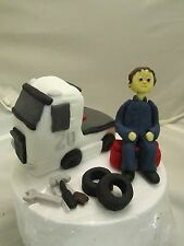 mechanic ,lorry and tools edible hand made figure birthday cake topper carear