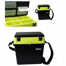 HI VIZ YELLOW BLACK SEAT + TACKLE FISHING BOX WITH STRAP SEAT PAD SEA BOAT CARP