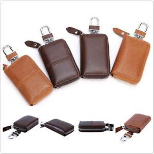 Men Women Small Leather Pouch Car Key Holder Wallet Bag Case Zipper Bag Keychain