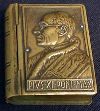 VTG POPE PIUS XII BRASS SNUFF BOX BOOK BIBLE 1950 HOLY DOOR ROME BASILICA
