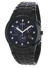 NWT Men's Citizen AT2055-52G Eco-Drive Chronograph Black Stainless Diamond Watch
