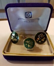China Cloisonne Co. Mens Cufflink and Tie Tack Set Enameled Chinese Characters