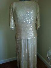 W17  Vintage Ladies Sequin 2 Piece Evening Dress -Ivory -Wedding, Cruise, Formal