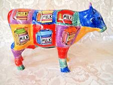 Vintage Piggy Bank - Multicolored MILK & MILK Ceramic Cow - Money Saver Coin Box