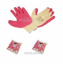 "12 Pairs of Crinkle Latex Coated Size 9"" Large Pink Work Gloves - Gardening"