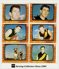 RARE-1967 Scanlens VFL Trading Card Full Team Set Richmond (6)--EXCELLENT