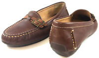 LL BEAN Womens Brown Leather Moccasins Loafers Driving Moc From Brazil Sz 6.5 M