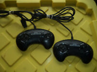 Lot of 2 - Sega Genesis OEM 3 Button Controllers / Working / Tested / #1650