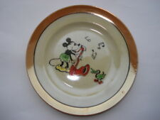 C1930S VINTAGE EARLY MICKEY MOUSE PLAYING A CLARINET CHILDS LUSTRE CHINA PLATE