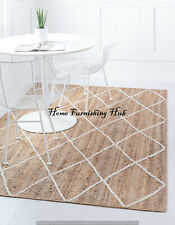 Indian Natural Jute Antique Braided Rectangle Floor Various Size Area Rag Rugs