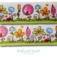 (1,33€/m) 3m Webband Ripsband 22mm Borte Frühling Wiese Tiere Bunte Blumen