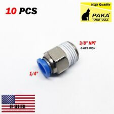 """10pcs Male Straight Connector Tube Od 1/4"""" X Npt 3/8 Push In Fitting One Touch"""