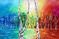 Landscape Painting, modern birch tree wall art, lakeside oil painting, river art