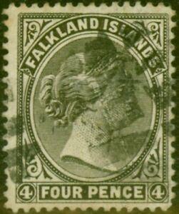 Falkland Islands 1895 4d Olive-Black SG32 Fine Used Stamp
