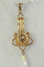 VICTORIAN EDWARDIAN 10K GOLD DIAMOND PEARL LAVALIERE PENDANT FOR A NECKLACE