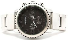 GENEVA MENS WATCH HEAVY METAL CHRONO STYLE BIG FACE SILVER BLACK DIAL AUTHENTIC