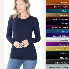 Basic Plain Solid Long Sleeve T Shirt Crew Neck Round Neck Stretch Cotton Tee