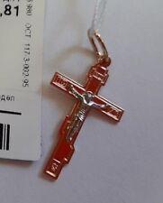 Russische Rose Rotgold 585 Anhänger Kreuzchen Kreuz KLEIN  BICOLOR 30mm