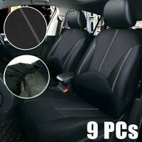 9Pcs Black Universal Car Seat Covers Leather Set Cushion 5 Seats Full Protector