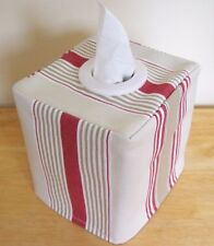 NEW  MODERN STRIPED FABRIC TISSUE BOX COVER WHITE EYELET OPENING  RED /  BEIGE