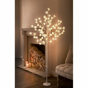 Tall Led Rose Tree Light Floor Lamp White Flower Petals Home Decoration