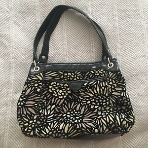 RELIC Black Leather & Velvet Floral Green Tan Purple Handbag Purse EXLNT RARE!