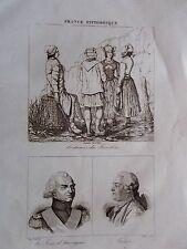 GRAVURE SUR ACIER 1835 COSTUMES DU FINISTERE PORTRAIT LA TOUR D AUVERGNE FRERON