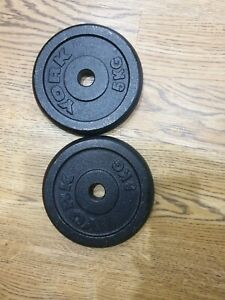 """2 x 5kg York Barbell Cast Iron Weight Plates standard, 1"""" hole, 10kg Total"""