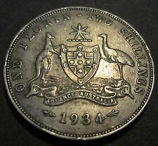 1934 Australia 2/- Two Shillings One Florin ** ERROR DIE CRACKS ** #RBF34-2 =8P=