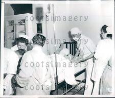 1953 Augustana Hospital Personnel Treat Fire Victim Chicago IL Press Photo