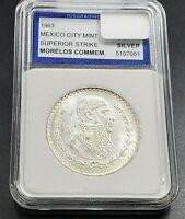 1963 MEXICO Independence War Jose Morelos Silver Peso Coin GEM BU UNC IGS SLAB