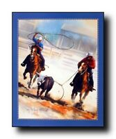 Cowboy Team Roping Western Rodeo Horse Wall Decor Picture Art Print Poster 16x20