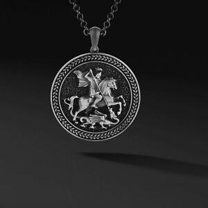 Saint George Pendant Silver Mens Necklace Medallion Necklace Christian Pendant