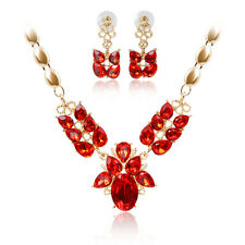 Rhinestone Red Zircon Rose Gold Plated Necklace Earrings Wedding Jewelry Sets