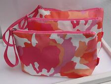 Lot of 3 New Clinique Big Size Pink Floral Cosmetic Make up Fashion Purse Bags