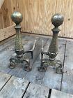 Antique Heavy Brass & Iron Andiron Pair c1919 Fire Dogs Deco Log Hearth 3713 Set