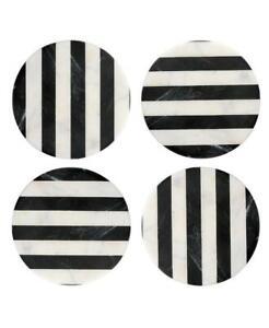 Thirstystone Black / White Striped Marble Coasters Set Of 4