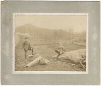 1900s Two Boys Sawing Wood on Farm Cabinet Card w/ Saw and Hatchet